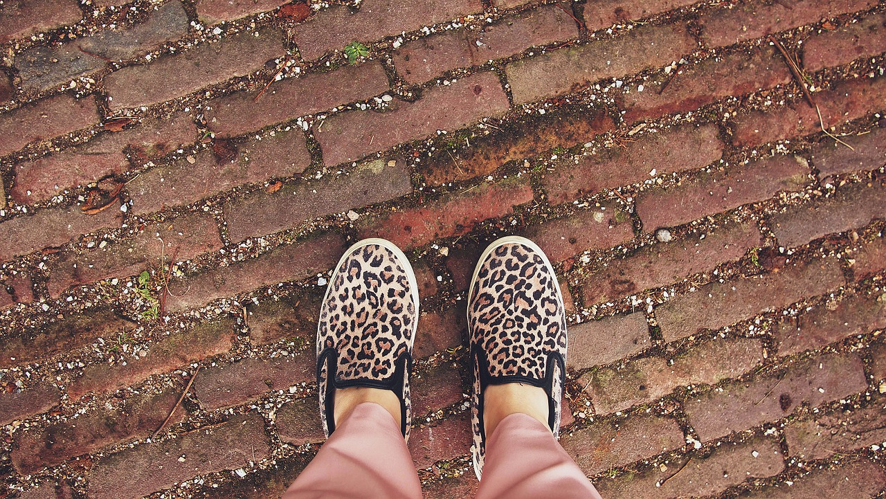 Leopard sneakers on cobblestones