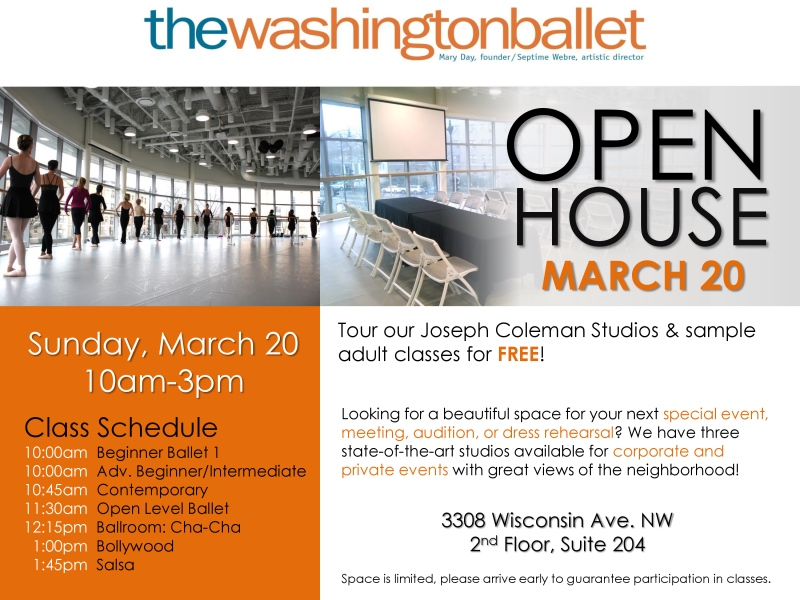 Looking for Some Culture, Cathedral Commons? Attend the Open House at the Washington Ballet
